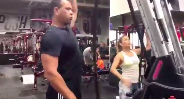 The couple that works out together, stays together … or something. (Screenshot via @ARod)