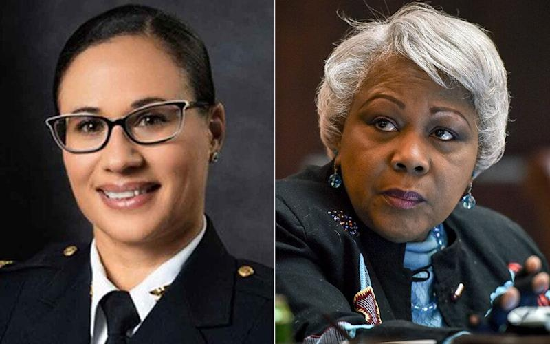 Portsmouth Police Chief Angela Greene, left, and Virginia Sen. Louise Lucas.