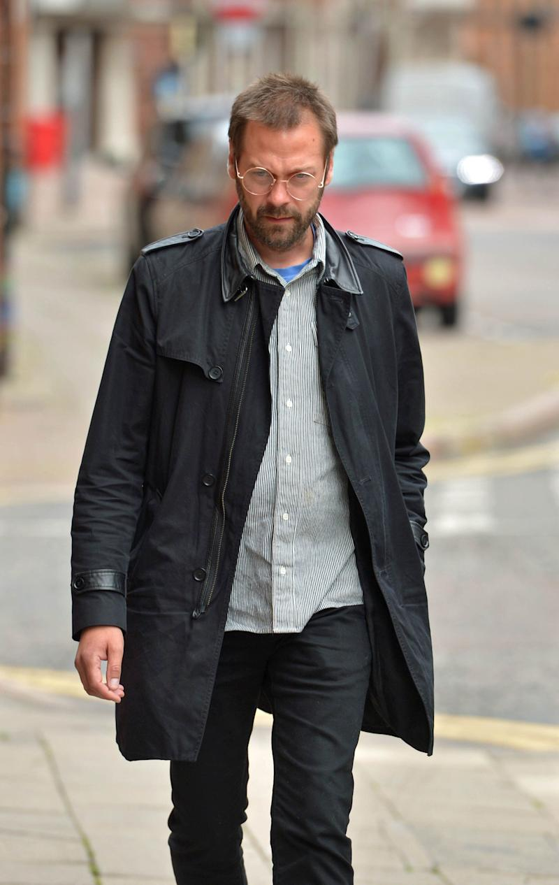 Ex-Kasabian singer, Tom Meighan, arrives at Leicester Magistrates' Court where he is appearing on a domestic assault charge. (Photo: PA)