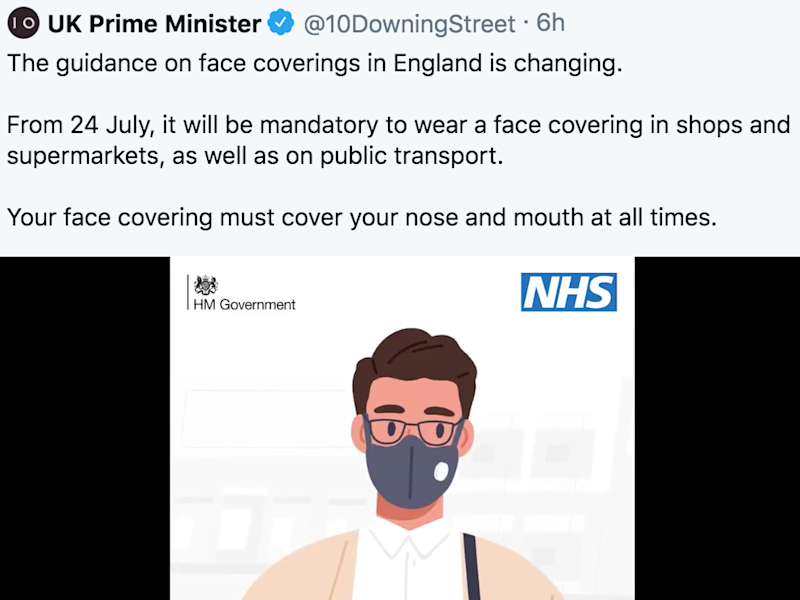 The prime minister's official Twitter account appeared to use graphics depicting a mask with a valve: Twitter screengrab