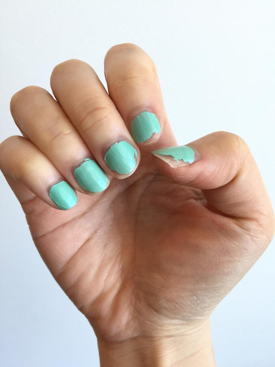 <p>I loved the gorgeous mint shade of this Essence gel polish but it sadly didn't last my weekend. I applied two coats but it chipped when I tried to pop open the lid of my shampoo bottle and continued to chip when I did chores. While it had beautiful shine and an equally beautiful price tag, it felt more like regular nail polish rather than a gel polish. –<i> Erica<br></i></p>