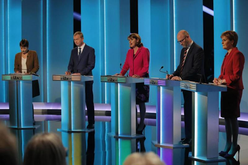 Green Party co-leader Caroline Lucas, Liberal Democrats leader Tim Farron, Plaid Cymru leader Leanne Wood, Ukip leader Paul Nuttall, SNP leader Nicola Sturgeon during The ITV Leaders' Debate (PA)