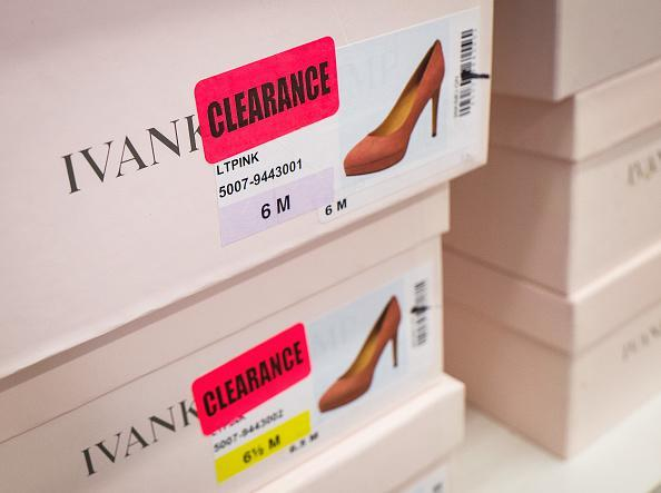 Ivanka Trump brand high heels are on sale in the clearance section at the Century 21 department store in New York City. (Photo by Drew Angerer/Getty Images)