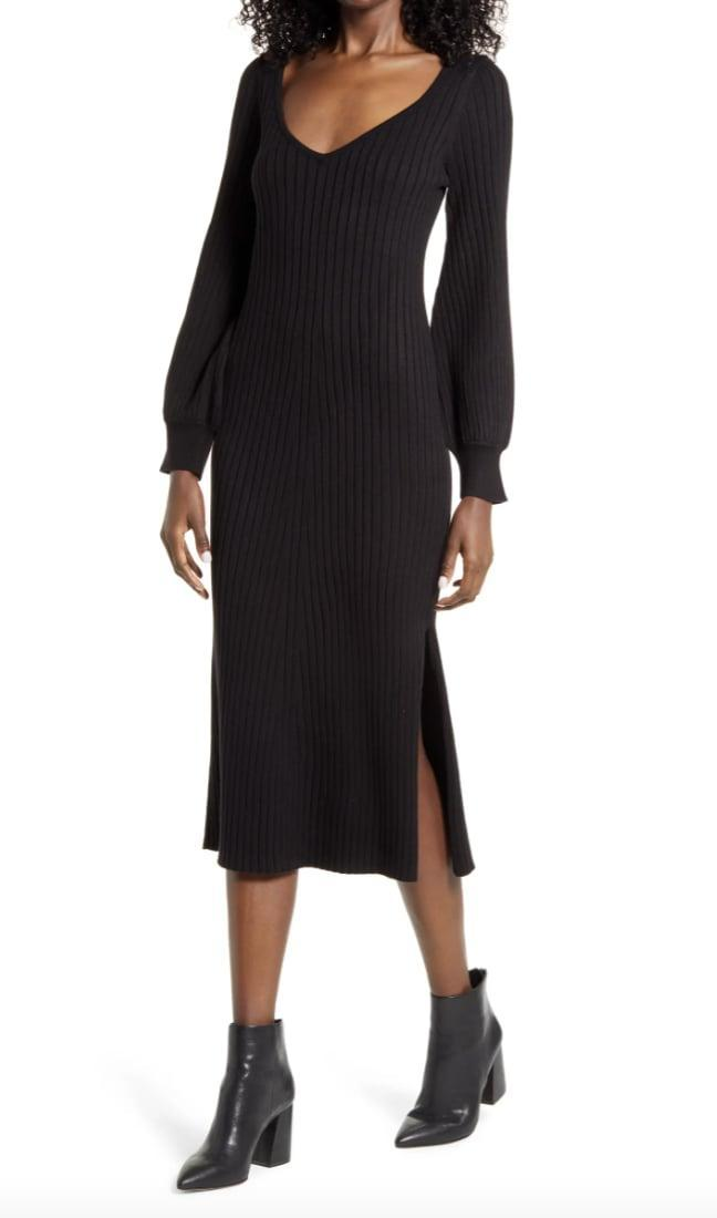 <p>This <span>Charles Henry Ribbed Body-Con Sweater Dress</span> ($53, originally $89) is incredibly flattering.</p>