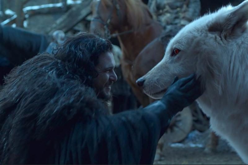 Jon Snow and his direwolf Ghost in 'Game of Thrones'. (Credit: HBO)