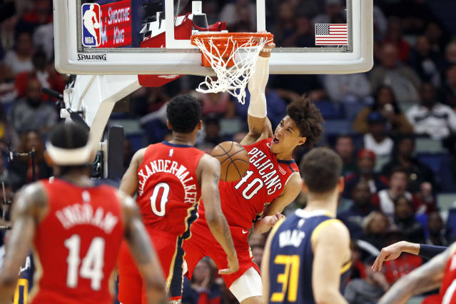 New Orleans Pelicans center Jaxson Hayes (10) dunks against the Utah Jazz in the second half of an NBA basketball game in New Orleans, Monday, Jan. 6, 2020. (AP Photo/Tyler Kaufman)