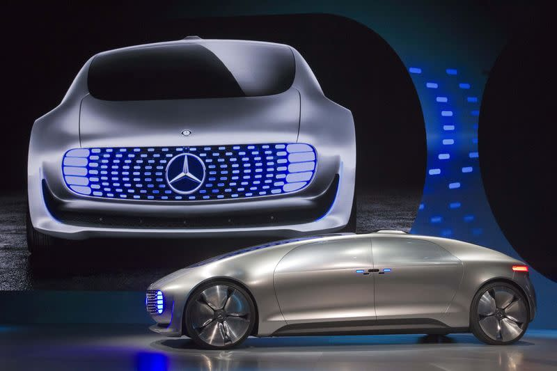 Mercedes-Benz F015 Luxury in Motion autonomous concept car is shown on stage during the 2015 International Consumer Electronics Show in Las Vegas