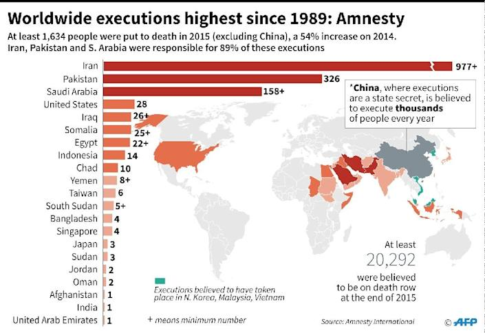 World map with details of Amnesty International's report on capital punishment (AFP Photo/Gillian HANDYSIDE)