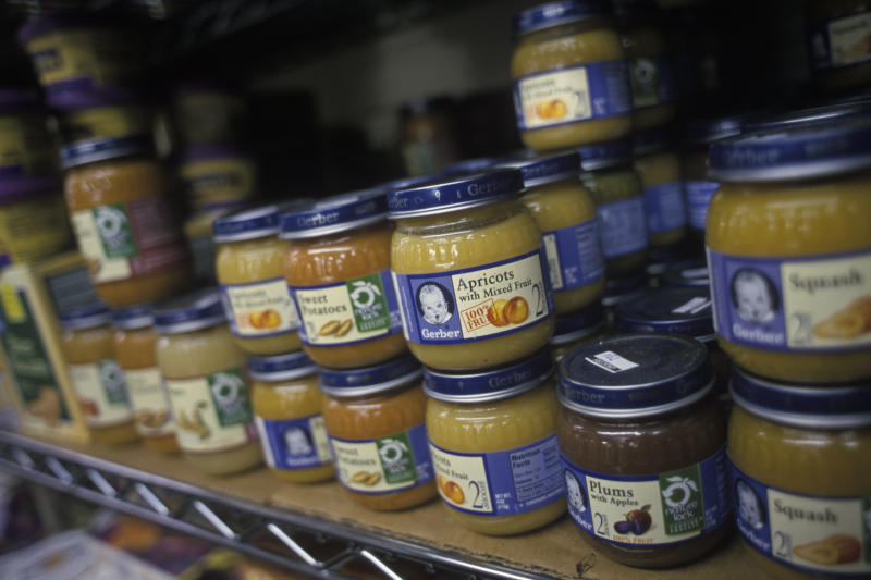 Environmentalists say buying baby food sold in glass jars is preferable since they can be recycled and reused.  (James Leynse via Getty Images)