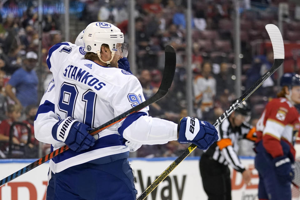 Tampa Bay Lightning center Steven Stamkos (91) celebrates after scoring a goal during the first period in Game 2 of an NHL hockey Stanley Cup first-round playoff series against the Florida Panthers, Tuesday, May 18, 2021, in Sunrise, Fla. (AP Photo/Lynne Sladky)