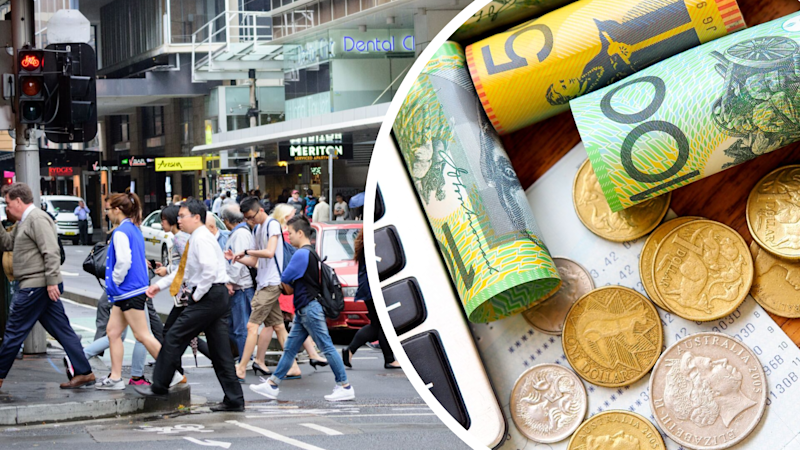 Pictured: Busy Australian street and Australian dollars, receipt and calculator suggesting tax returns 2019. Images: Getty