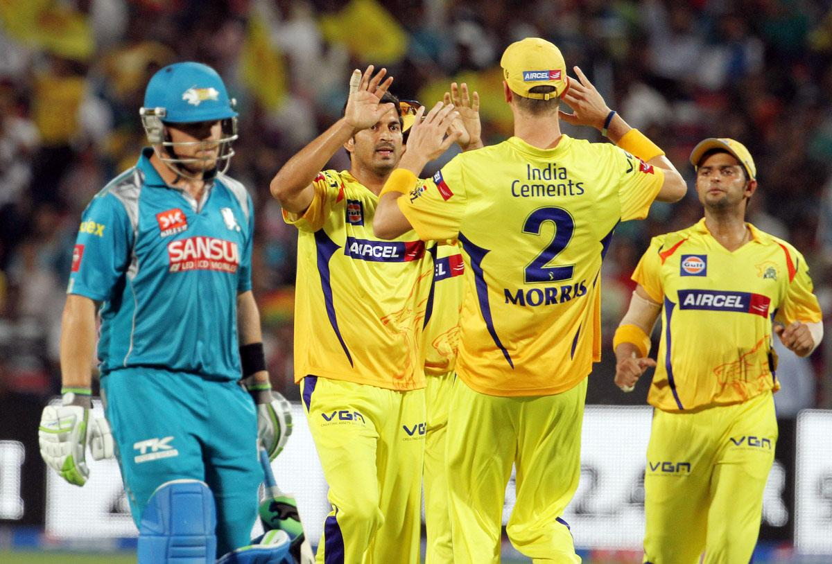 Chennai Super King player Mohit Sharma celebrates with his teammates after getting the wicket of Pune Warriors player Aaron Finch during match 42 of the Pepsi Indian Premier League ( IPL) 2013  between The Pune Warriors India and the Chennai Superkings held at the Subrata Roy Sahara Stadium, Pune on the 30th April  2013. (BCCI)
