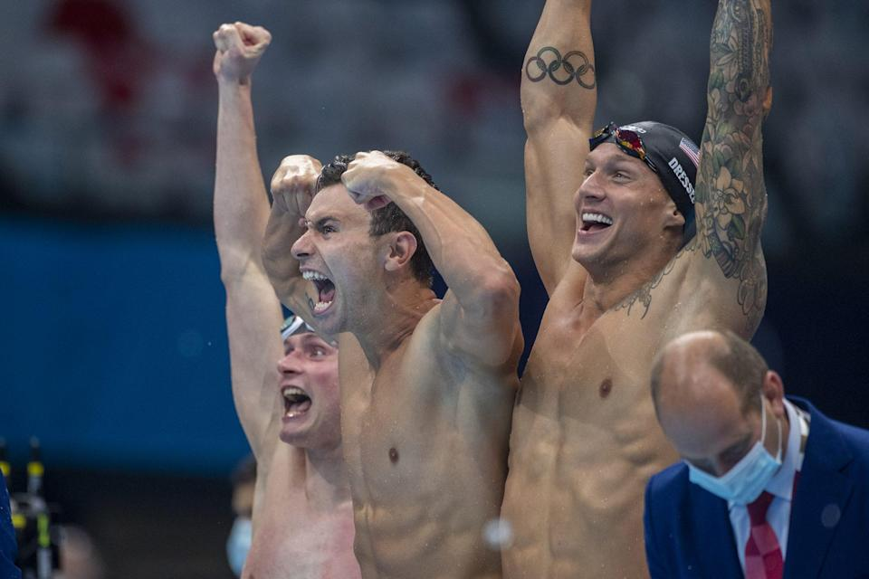 """<p>Biography: Apple, Becker and Dressel are 24 and Pieroni is 25</p> <p>Event: Men's 4x100 freestyle relay (swimming)</p> <p>Quote: """"All of us love that relay. We have immense amount of confidence in that relay. All of us love 100 freestyle. We don't really pay attention to who's on the relay from the other countries, we just worry about ourselves and our lane, and putting the four fastest splits out that we can,"""" Pieroni said.</p>"""