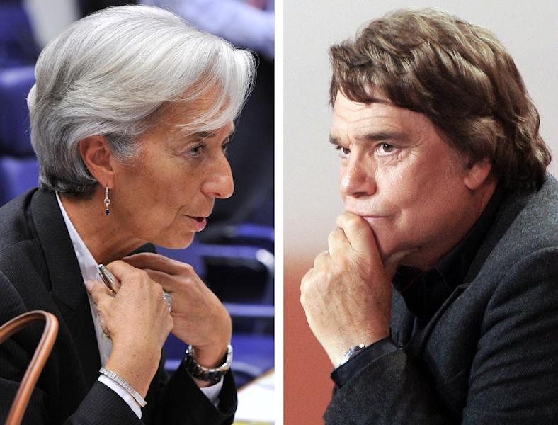 IMF chief Christine Lagarde (L) was placed under formal investigation in 2014 for negligence in a protracted legal drama pitting French tycoon Bernard Tapie (R) against a bank which he accused of defrauding him (AFP Photo/Georges Gobet, Jacques Demarthon)