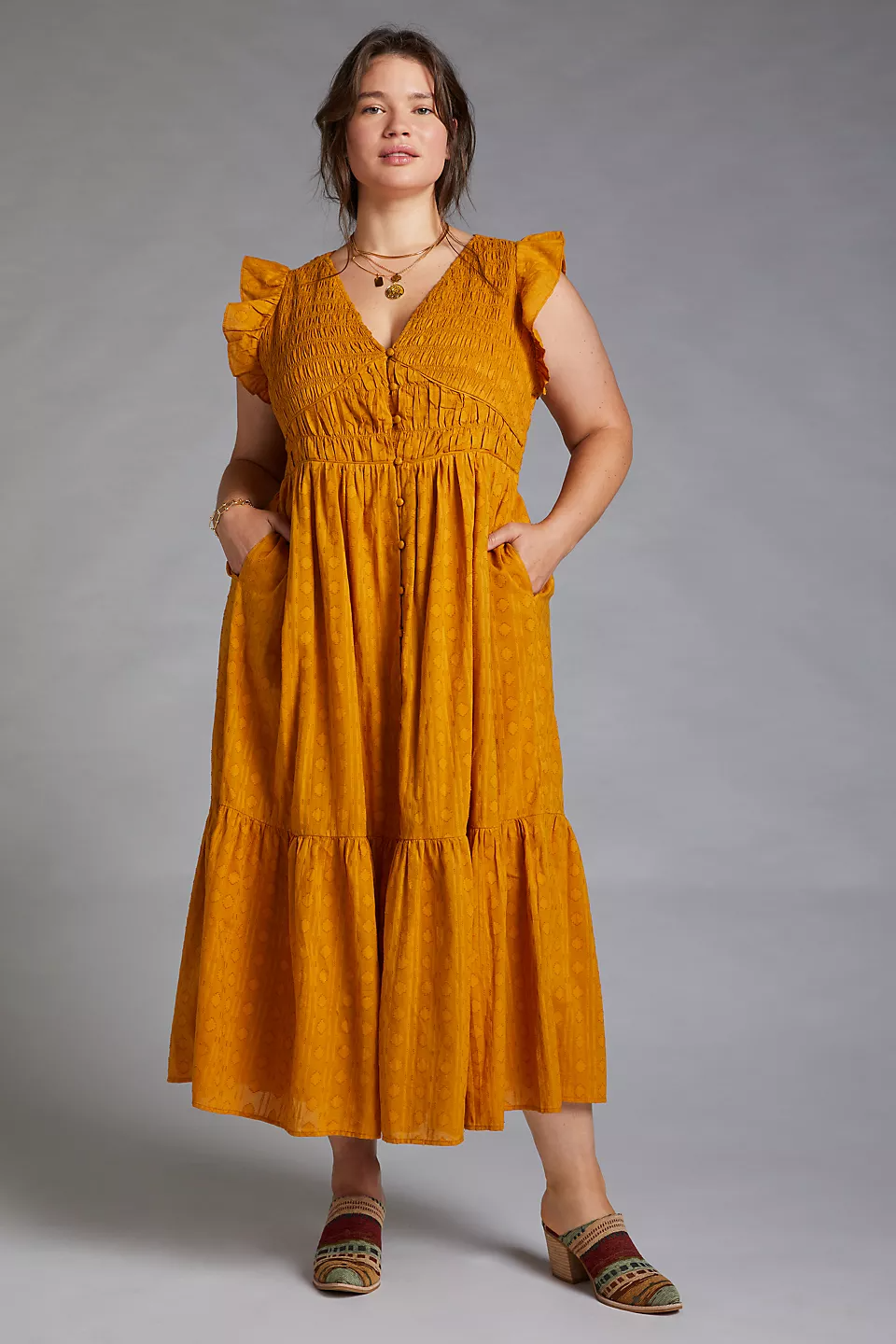 """<br><br><strong>Anthropologie</strong> Smocked Ruffle Maxi Dress, $, available at <a href=""""https://go.skimresources.com/?id=30283X879131&url=https%3A%2F%2Fwww.anthropologie.com%2Fshop%2Fsmocked-ruffle-maxi-dress%3Fcolor%3D070%26type%3DPLUS%26quantity%3D1"""" rel=""""nofollow noopener"""" target=""""_blank"""" data-ylk=""""slk:Anthropologie"""" class=""""link rapid-noclick-resp"""">Anthropologie</a>"""