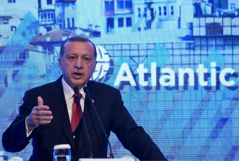 Turkish President Recep Tayyip Erdogan gives a speech at the Atlantic Council summit in Istanbul on April 28, 2017