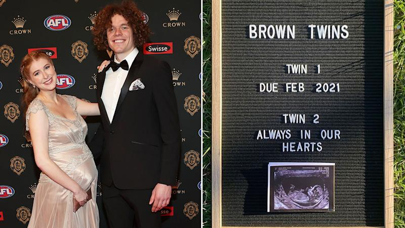 Pictured here, Ben Brown and his wife Hester with their tribute to a lost baby twin.