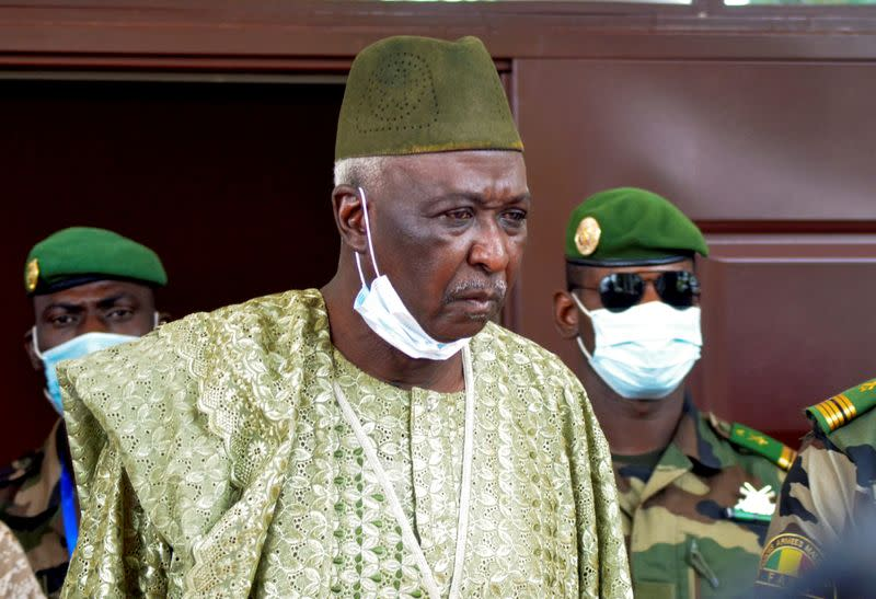 The new interim president of Mali, former colonel Ndaw, is pictured after a meeting with Economic Community of West African States (ECOWAS) mediators, in Bamako