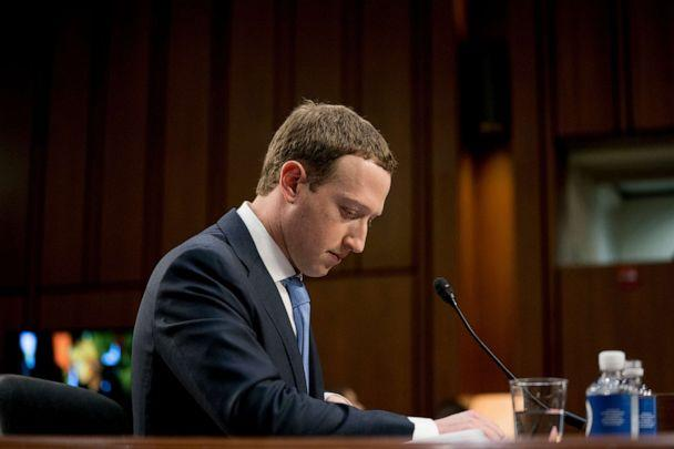 PHOTO: Facebook CEO Mark Zuckerberg pauses while testifying before a joint hearing of the Commerce and Judiciary Committees on Capitol Hill in Washington, April 10, 2018. (Andrew Harnik/AP, FILE)