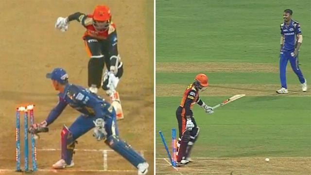 A Sunrisers Hyderabad batsman has suffered one of the more embarrassing run outs in recent memory in the Indian Premier League overnight.