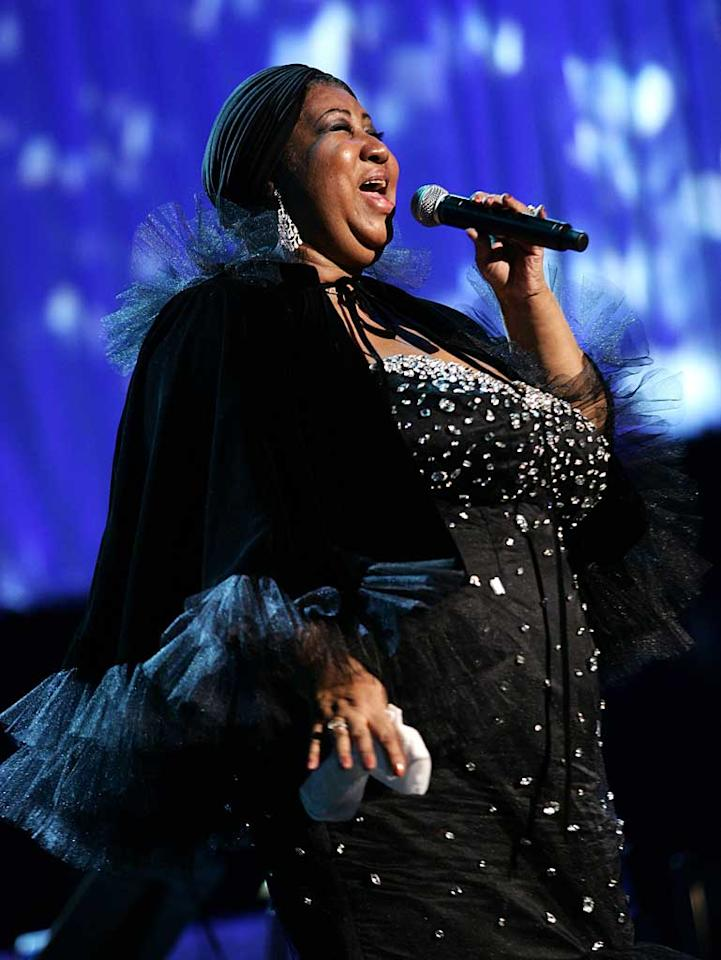 """Aretha Franklin was honored on Friday as the 2008 MusiCares Person Of The Year. The Queen of Soul, who is afraid of flying, joked that it took so long to drive to the gala that she finally may overcome her fears. Jason Squires/<a href=""""http://www.wireimage.com"""" target=""""new"""">WireImage.com</a> - February 8, 2008"""