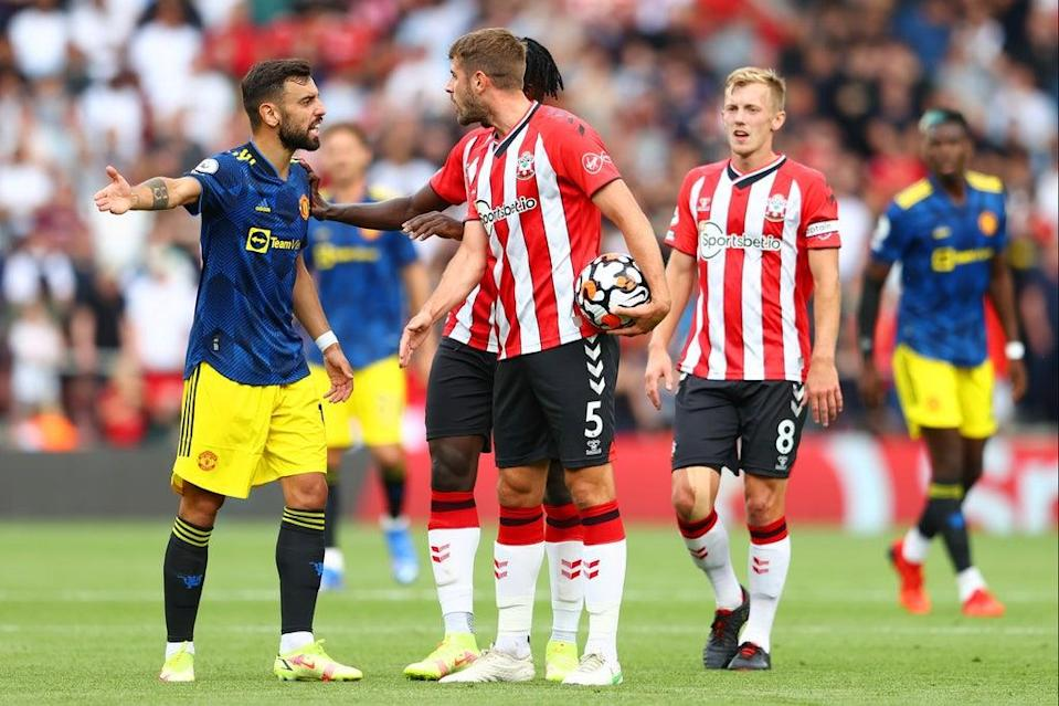 Bruno Fernandes was booked for his protests  (Getty Images)