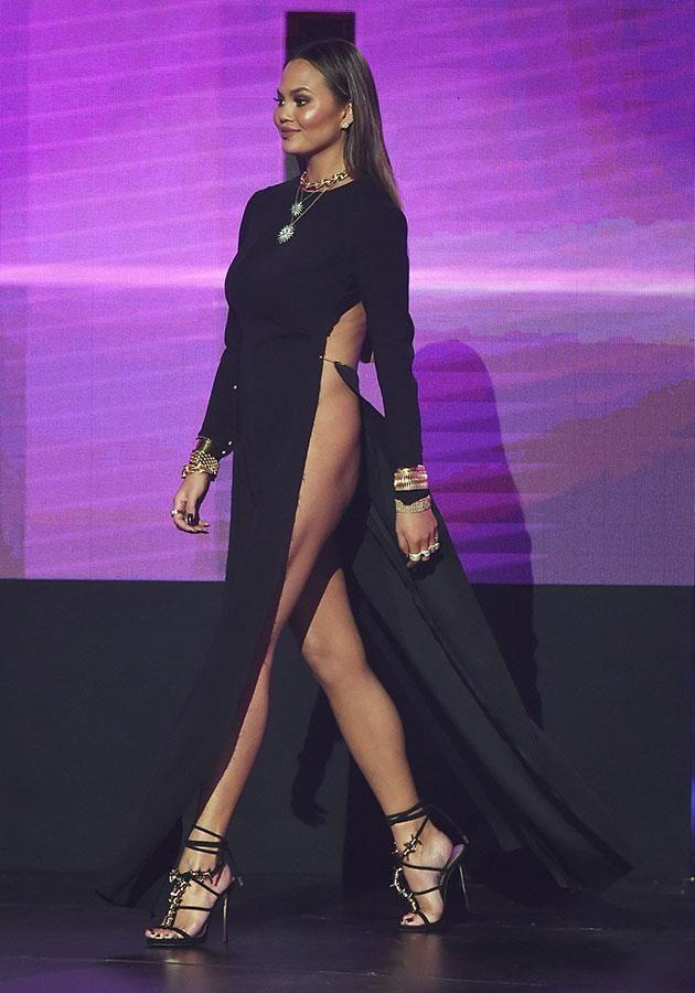 Sky's the limit for Chrissy's slit. Source: Getty Images.