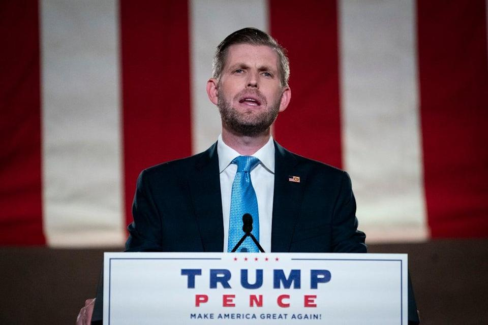 Eric Trump, son of U.S. President Donald Trump, pre-records his address to the Republican National Convention at the Mellon Auditorium on August 25, 2020 in Washington, DC. (Getty Images)
