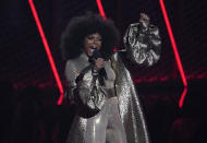 Host Taraji P. Henson speaks at the BET Awards on Sunday, June 27, 2021, at the Microsoft Theater in Los Angeles. (AP Photo/Chris Pizzello)