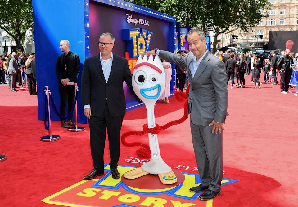 """LONDON, ENGLAND - JUNE 16:  Mark Nielsen (L) and Jonas Rivera attend the European premiere of Disney and Pixar's """"Toy Story 4"""" at the Odeon Luxe Leicester Square on June 16, 2019 in London, England. (Photo by Gareth Cattermole/Getty Images for Disney and Pixar)"""