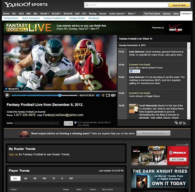 As the Web's #1 Fantasy Football game, Yahoo! Fantasy Football is also a big hit on mobile devices, delivering real-time live scoring, matchups, player stats and more, so users can manage their team at home or on the road.