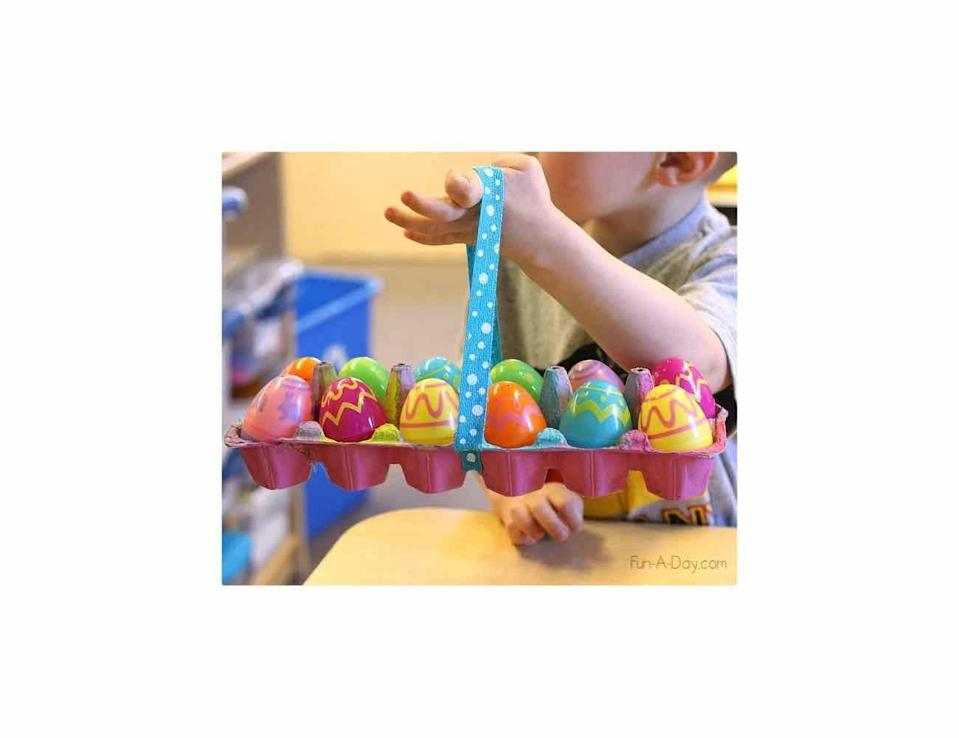 "<p>This fun craft is an eco-friendly option that's perfect for the youngest set. Simply cut an egg carton in half, add a ribbon, and let them go wild with paint. </p><p>Get the tutorial at <a href=""https://fun-a-day.com/homemade-easter-baskets-kids-can-make/"" rel=""nofollow noopener"" target=""_blank"" data-ylk=""slk:Fun a Day."" class=""link rapid-noclick-resp"">Fun a Day. </a></p><p><a class=""link rapid-noclick-resp"" href=""https://www.amazon.com/Acrylic-Paint-Value-Craft-Pieces/dp/B079Q8DZC4/?tag=syn-yahoo-20&ascsubtag=%5Bartid%7C10072.g.30506642%5Bsrc%7Cyahoo-us"" rel=""nofollow noopener"" target=""_blank"" data-ylk=""slk:SHOP PAINT"">SHOP PAINT</a></p>"