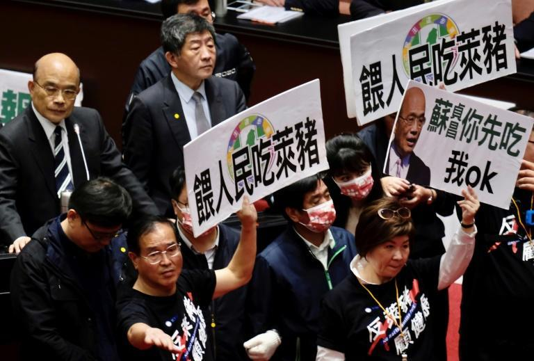 Legislators from Taiwan's KMT on Friday protested the government's decision to ease restrictions on pork imports from the US