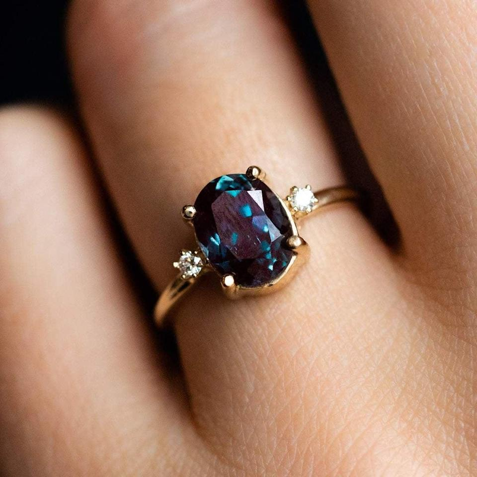 """<p>This bold <a href=""""https://www.popsugar.com/buy/Oval-Alexandrite-Ring-531798?p_name=Oval%20Alexandrite%20Ring&retailer=localeclectic.com&pid=531798&price=675&evar1=fab%3Aus&evar9=47015200&evar98=https%3A%2F%2Fwww.popsugar.com%2Ffashion%2Fphoto-gallery%2F47015200%2Fimage%2F47016005%2FOvals-Oval-Alexandrite-Ring&list1=shopping%2Cjewelry%2Crings%2Cengagement%20rings&prop13=mobile&pdata=1"""" rel=""""nofollow noopener"""" class=""""link rapid-noclick-resp"""" target=""""_blank"""" data-ylk=""""slk:Oval Alexandrite Ring"""">Oval Alexandrite Ring</a> ($675) is unlike any other piece on the market.</p>"""