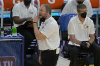 Memphis Grizzlies head coach Taylor Jenkins gesture toward players during the first half of his team's NBA basketball game against the Golden State Warriors in San Francisco, Sunday, May 16, 2021. (AP Photo/Jeff Chiu)
