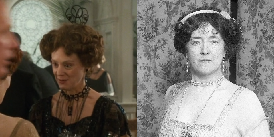<p>Played by Rosalind Ayres (the real-life wife of Martin Jarvis), Lady Duff-Gordon was the wife of Cosmo-Duff Gordon, and as Rose mentions in <em>Titanic</em>, she was a fashion designer. She did not, however, only design lingerie, and she also wrote fashion columns for magazines like <em>Harper's Bazaar</em> and <em>Good Housekeeping</em>. </p>