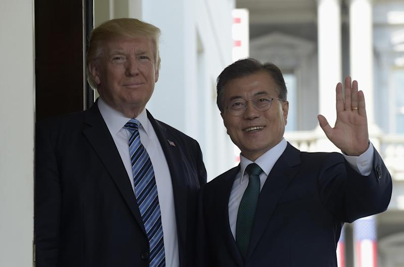 President Donald Trump welcomes South Korean President Moon Jae-in to the White House: AP