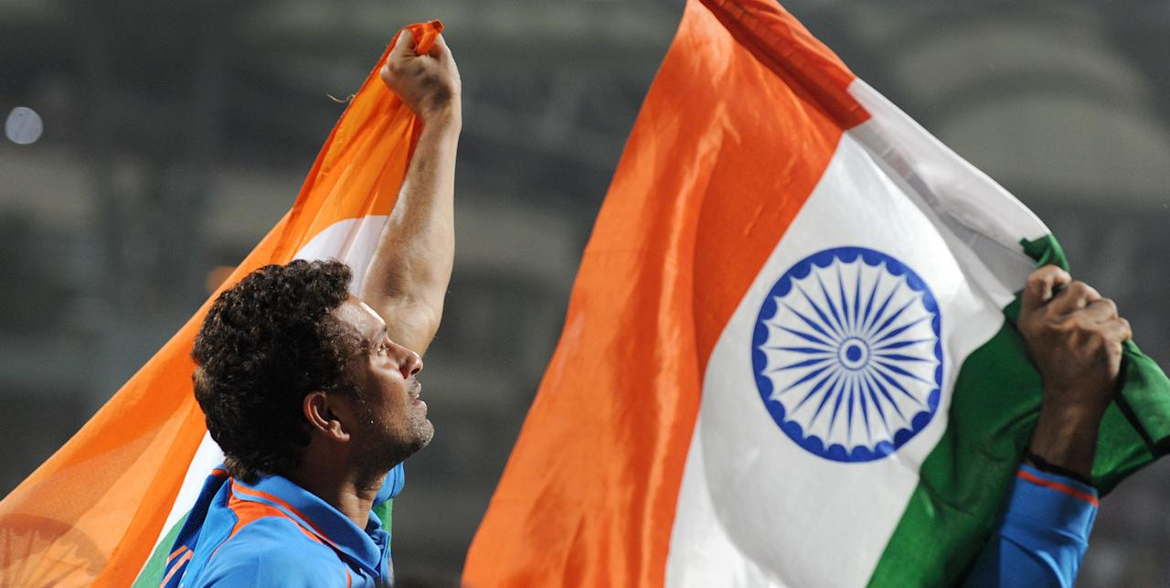 Indian batsman Sachin Tendulkar is carried on his teammates shoulders after India defeated Sri Lanka in the ICC Cricket World Cup 2011 final played at The Wankhede Stadium in Mumbai on April 2, 2011. India beat Sri Lanka by six wickets.  AFP PHOTO/William WEST (Photo credit should read WILLIAM WEST/AFP/Getty Images)