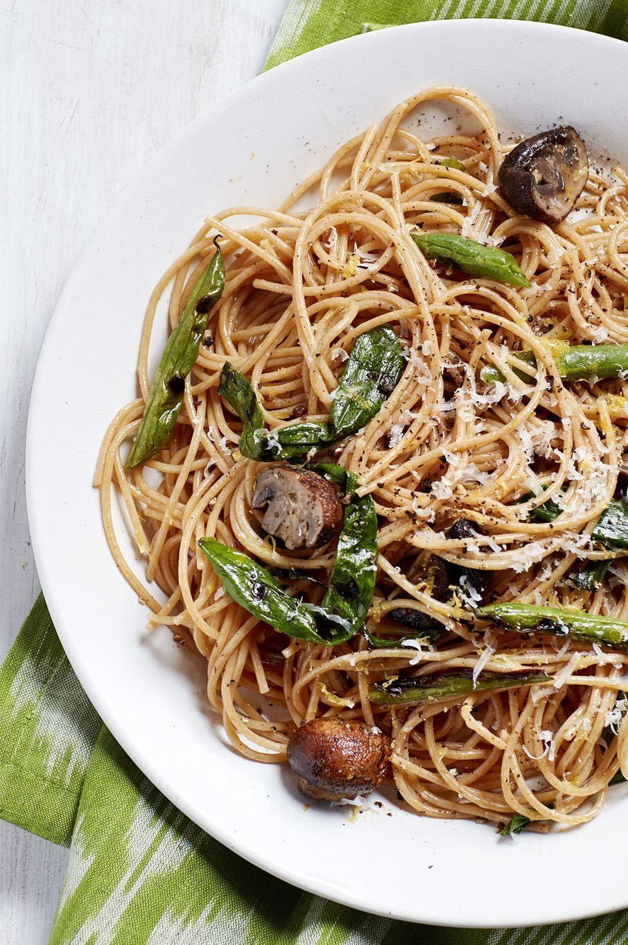"<p>Though this whole wheat pasta with lemon and green beans is light and fresh, each serving is packed with 17 g of protein to keep you full until your next meal.</p><p><a href=""https://www.womansday.com/food-recipes/food-drinks/recipes/a58984/spaghetti-grilled-green-beans-mushrooms/"" rel=""nofollow noopener"" target=""_blank"" data-ylk=""slk:Get the Spaghetti with Grilled Green Beans and Mushrooms recipe."" class=""link rapid-noclick-resp""><em><strong>Get the Spaghetti with Grilled Green Beans and Mushrooms recipe.</strong></em></a></p><p><strong><a class=""link rapid-noclick-resp"" href=""https://www.amazon.com/LiveFresh-Stainless-Micro-Perforated-5-Quart-Colander/dp/B0166P6QNM?tag=syn-yahoo-20&ascsubtag=%5Bartid%7C10070.g.2176%5Bsrc%7Cyahoo-us"" rel=""nofollow noopener"" target=""_blank"" data-ylk=""slk:SHOP PASTA STRAINERS"">SHOP PASTA STRAINERS</a></strong></p>"