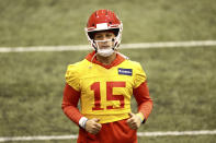 Kansas City Chiefs Quarterback Patrick Mahomes (15) during NFL football practice Thursday, Feb. 4, 2021, in Kansas City, Mo. The Chiefs will face the Tampa Bay Buccaneers in Super Bowl 55. (Steve Sanders/Kansas City Chiefs via AP)