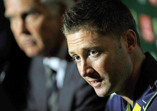 Australia's Test cricket captain Michael Clarke (R) at a press conference in Sydney in October. Clarke says Australia's best chance of dethroning the number one ranked South Africans is to wear down their strike weapons