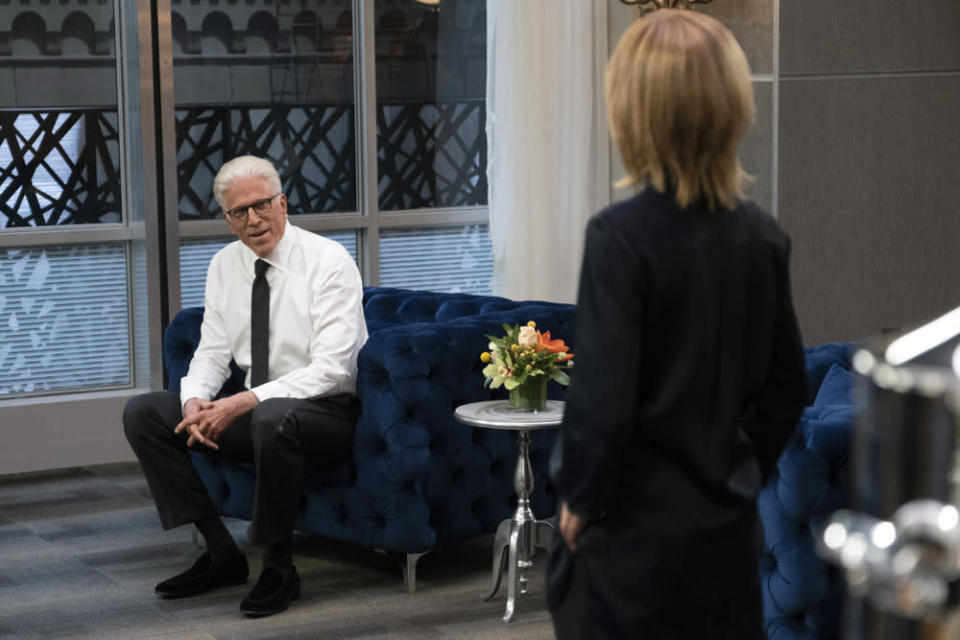 """This image released by NBC shows Ted Danson as Mayor Neil Bremer, left, in a scene from the new comedy """"Mr. Mayor,"""" premiering on Thursday. (Colleen Hayes/NBC via AP)"""