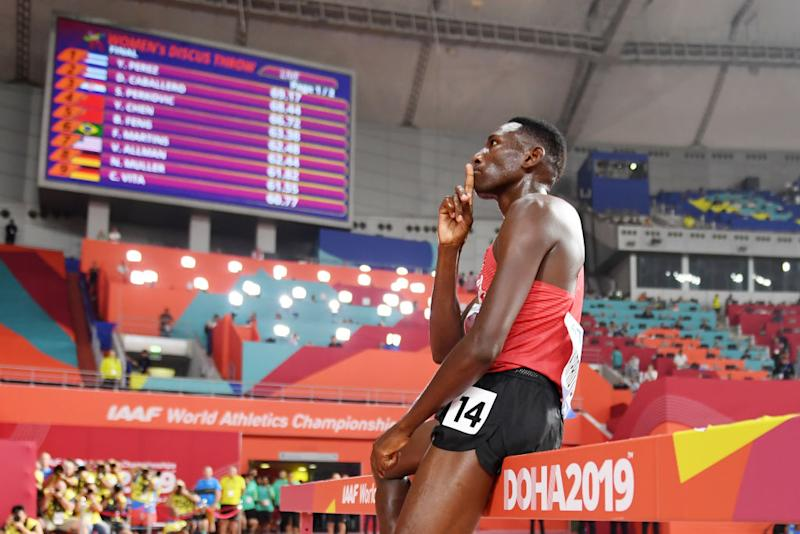 Conseslus Kipruto of Kenya celebrates winning gold in the Men's 3000 metres Steeplechase final during day eight of 17th IAAF World Athletics Championships Doha 2019 at Khalifa International Stadium on October 04, 2019 in Doha, Qatar. (Photo by Matthias Hangst/Getty Images)