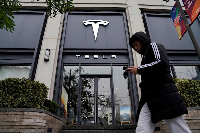 A Tesla logo is seen at a Tesla showroom in Shanghai, China January 7, 2019. REUTERS/Aly Song