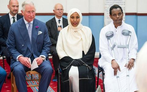 Prince Charles visits the Muslim Welfare House, in Finsbury near the scene of the Finsbury Mosque attack, and sits with Yassin Hersi who was a victim of the incident and his wife Cllr Rakhia Ismail - Credit: John Nguyen/JNVisuals
