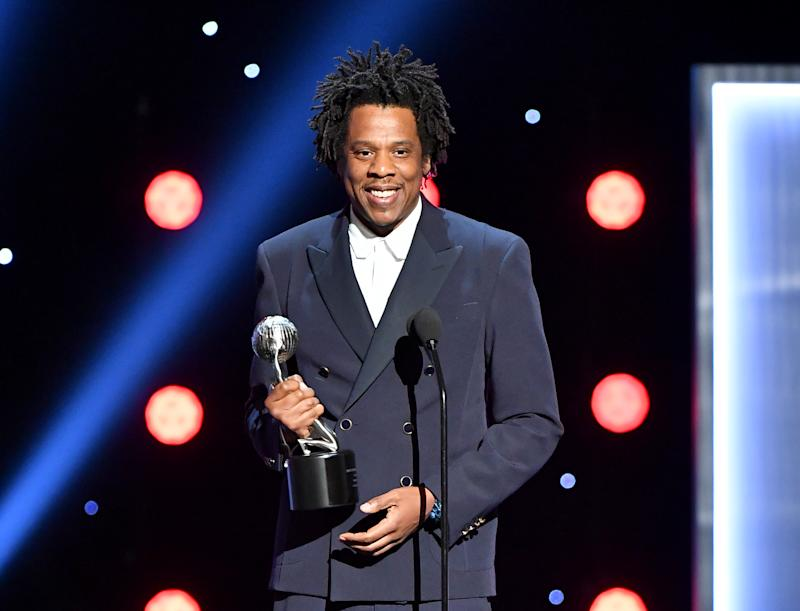 HOLLYWOOD, CALIFORNIA - MARCH 30: Jay-Z accepts the Presidents Award onstage at the 50th NAACP Image Awards at Dolby Theatre on March 30, 2019 in Hollywood, California. (Photo by Earl Gibson III/Getty Images for NAACP)