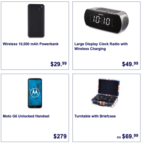 Powerbank, smartphone, clock radio and turntable, which are all Aldi Special Buys for August 15.