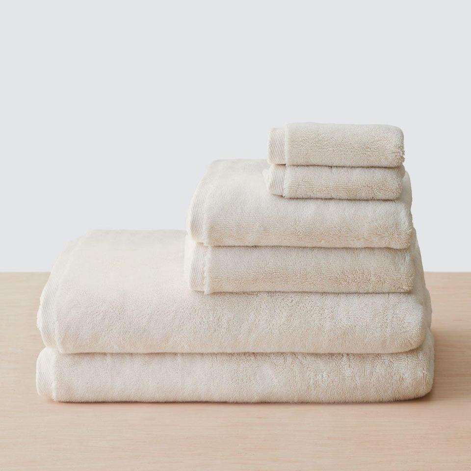 """Refresh her bathroom setup with these plush, organic cotton towels. They dry really fast and will last her years. $135, The Citizenry. <a href=""""https://www.the-citizenry.com/products/organic-plush-bath-towel-sets?"""" rel=""""nofollow noopener"""" target=""""_blank"""" data-ylk=""""slk:Get it now!"""" class=""""link rapid-noclick-resp"""">Get it now!</a>"""