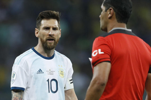 Lionel Messi isn't going to play internationally for three months — maybe because he has a point. (AP)