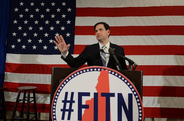 Republican presidential candidate Sen. Marco Rubio (R-FL) speaks at the First in the Nation Republican Leadership Summit April 17, 2015 in Nashua, New Hampshire (AFP Photo/Darren Mccollester)